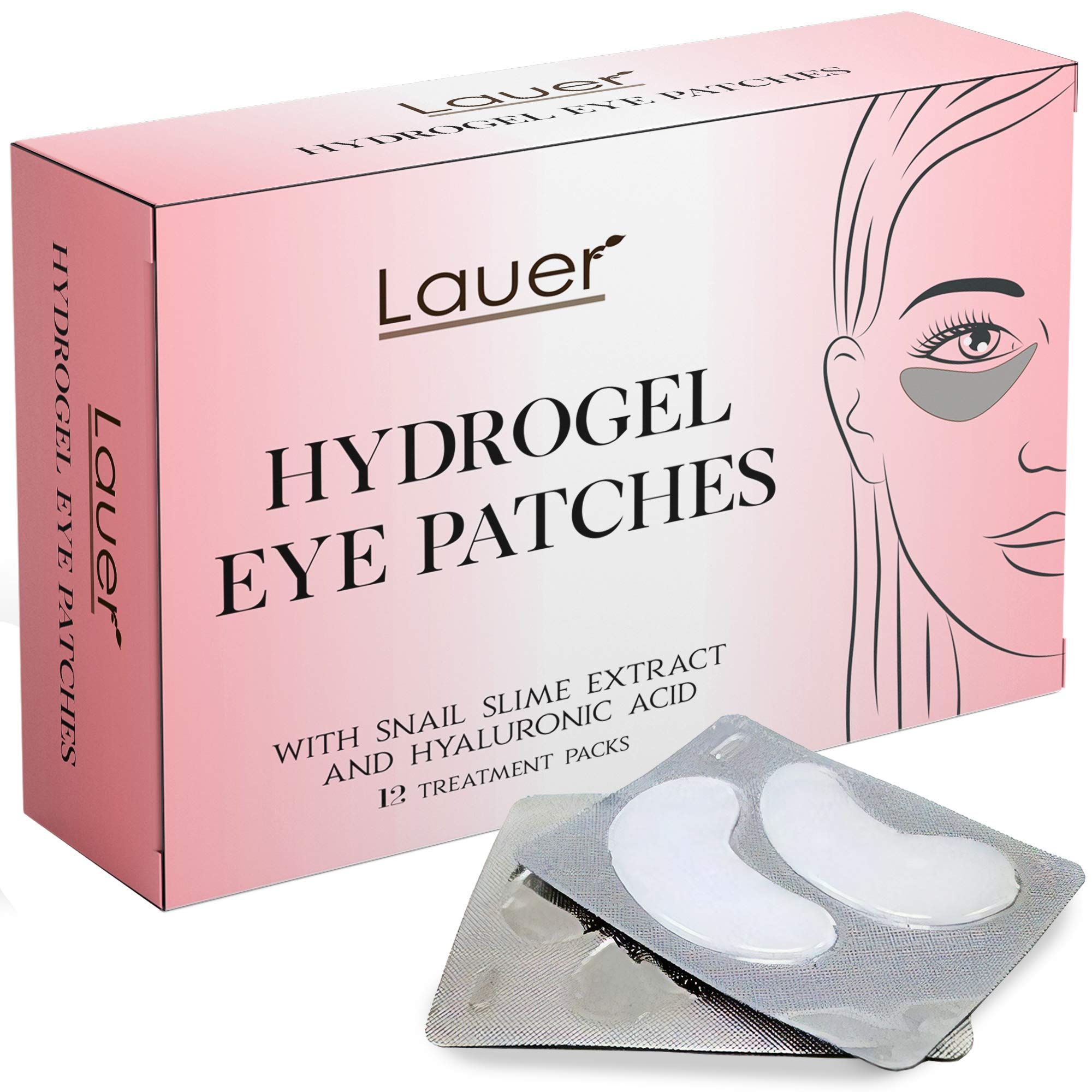 Under Eye Bags Treatment Patches | Eye Mask with Hyaluronic acid and SNAIL Slime Extract | Puffy Eyes| Dark Circles Under Eye Treatment Masks by LAUER COSMETIC
