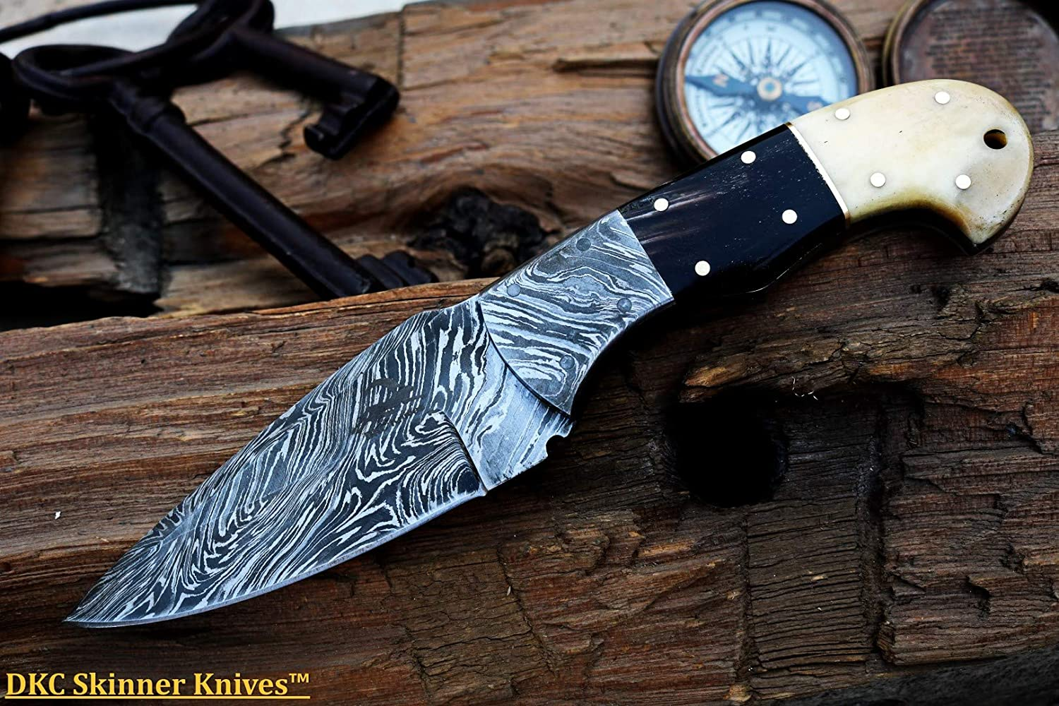 DKC Knives 3 6 18 Sale DKC-189 Mountain ELK Damascus Steel Knife Hunting Knife 8 Long, 4 Blade 8 oz Very Solid Knife