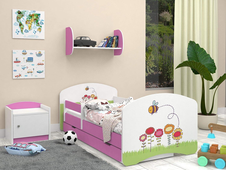 Happy Babies Lit double face pour enfant avec motif moderne et bords s/ûrs et matelas en mousse 7 cm
