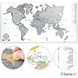 beneart® Map of the World Travel Scrape World Map (XL), Wall Poster, Personalized Memory and Adventure Keeper, Reveal Continents and Countries with Coins