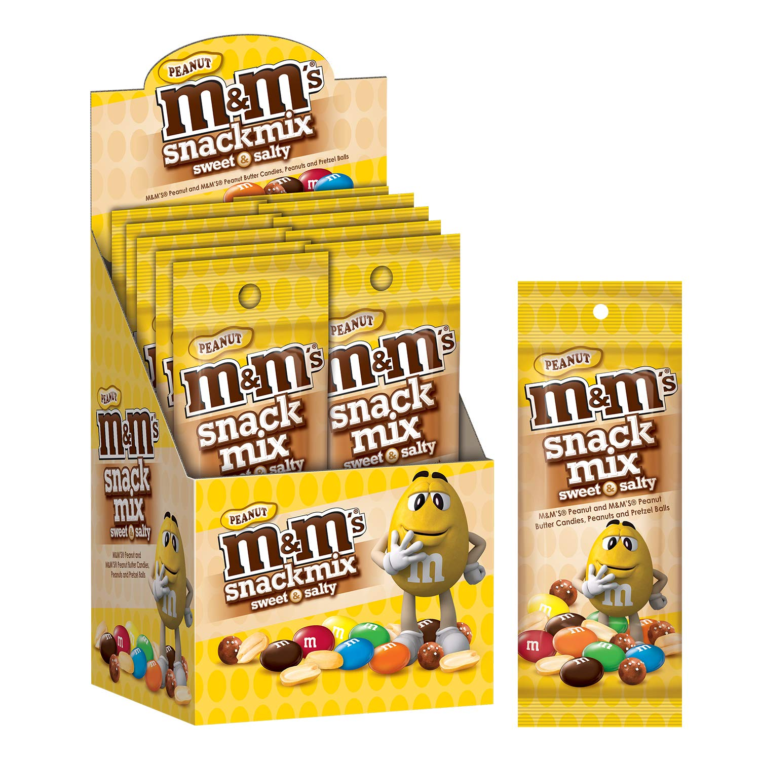 M&M'S Peanut Chocolate Candy Snack Mix 1.75-Ounce Slim Pack (Pack of 10) by M&M'S