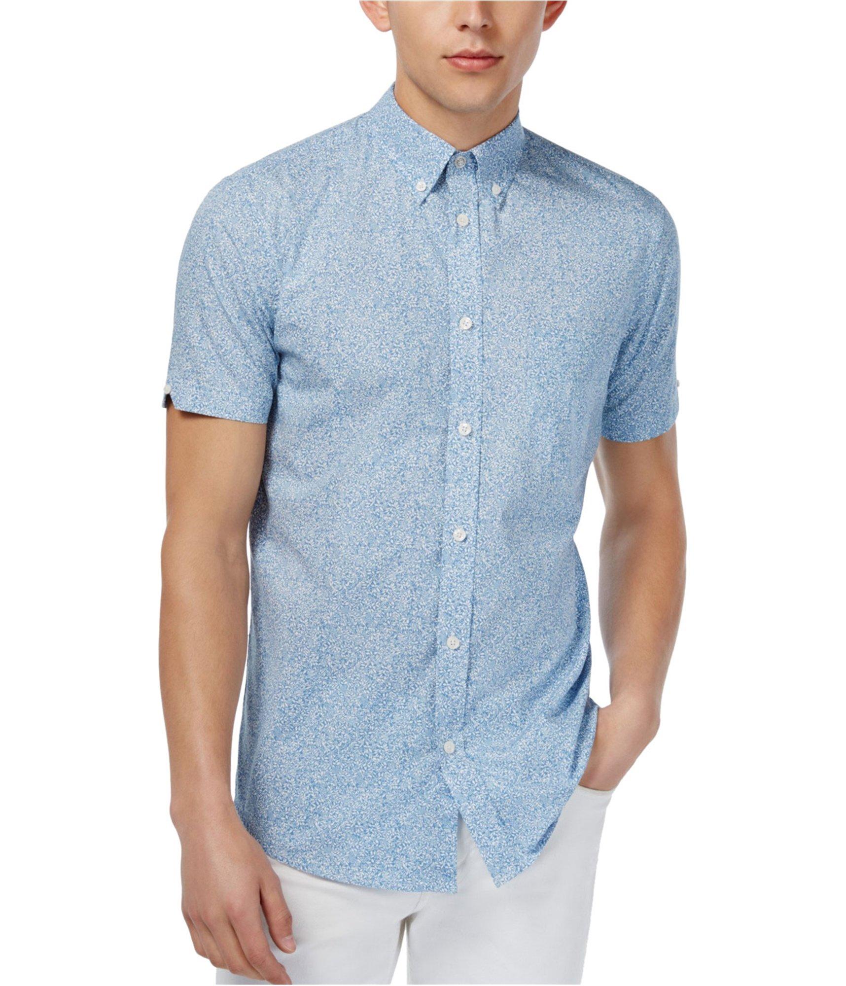 Ben Sherman Slim-Fit Floral Print Short Sleeve Button Down Shirt (Summer Sky, Medium)