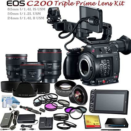 Canon Cinema EOS C200 (EF Mount) with Triple Prime Lens Bundle