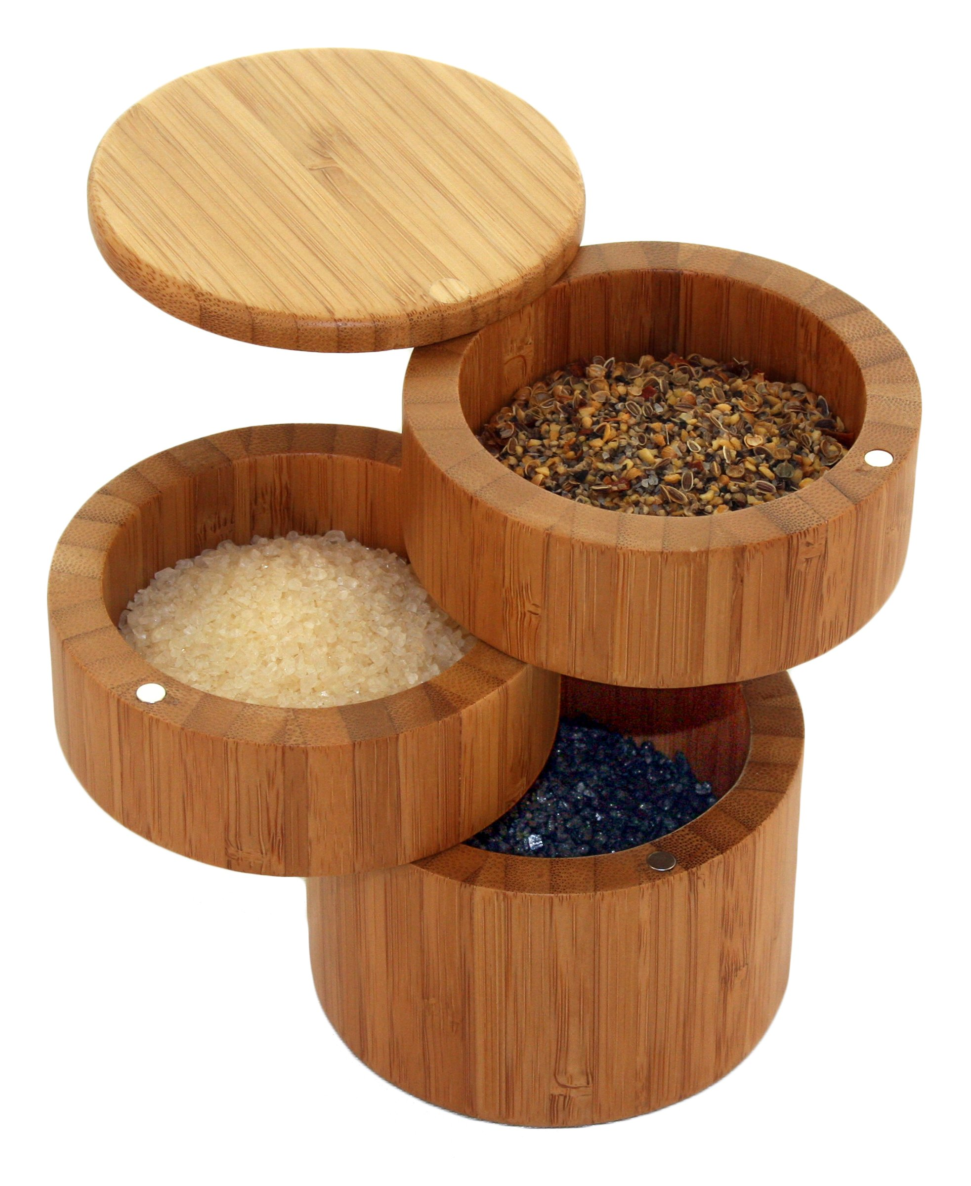 Totally Bamboo Triple Salt Box, 100% Bamboo Container with Magnetic Lid For Secure Strong Storage, This Wooden Box has Three Compartments for Salt, Spices, Herbs, Seasoning & MORE! Designed in USA
