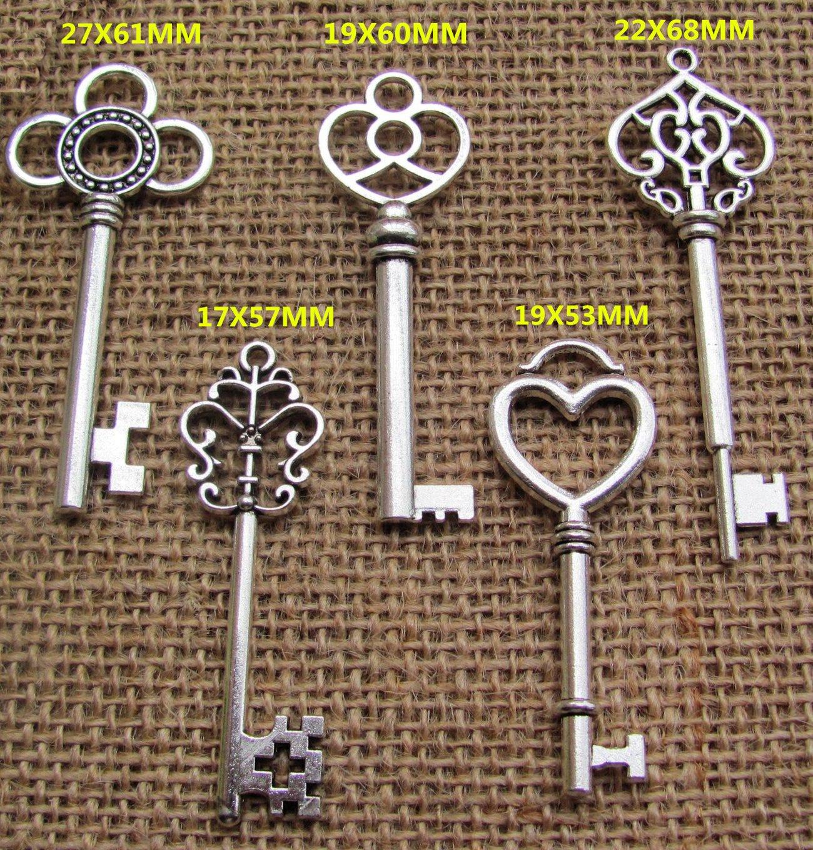 SL crafts Mixed 100pcs Antique Silver Skeleton Keys & 100 pcs White Tags Key Charms Pendants Wedding favor 53mm-68mm by SL crafts (Image #3)