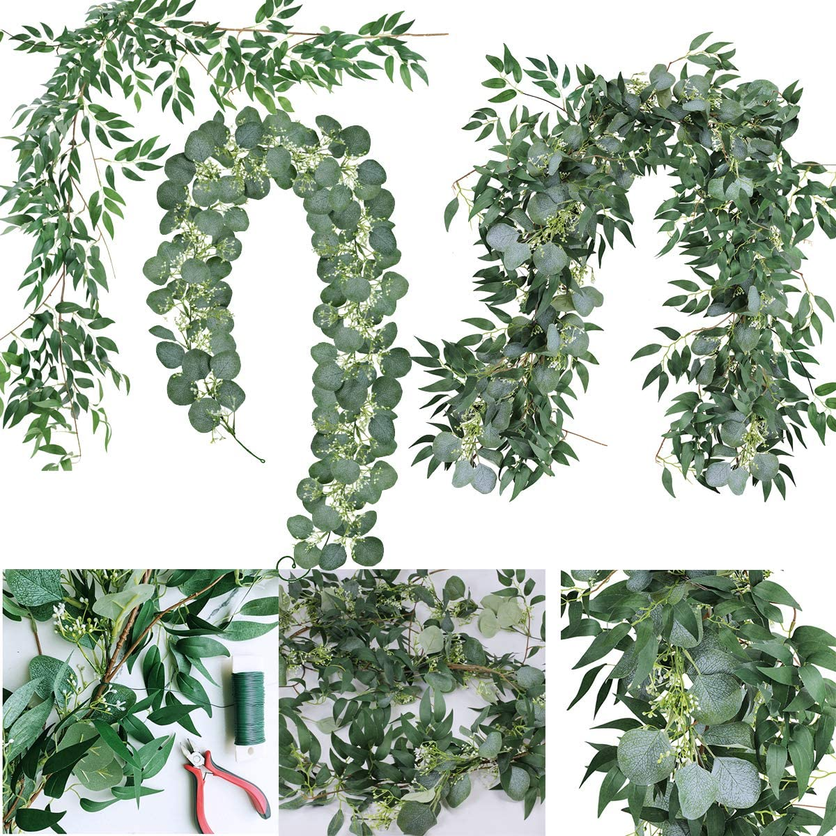 Supla 2 Pcs Artificial Greenery Garland Eucalyptus Garland Table Runner Faux Face Silver Dollar Eucalyptus Leaves Vine Willow Leaves Garland Holiday Greens for Wedding Jungle Party Wall Backdrop Decor