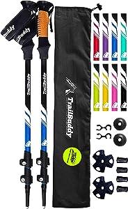 TrailBuddy Lightweight Trekking Poles - 2-pc Pack Adjustable Hiking or Walking Sticks - Strong Aircraft Aluminum - Quick Adjust Flip-Lock - Cork Grip, Padded Strap