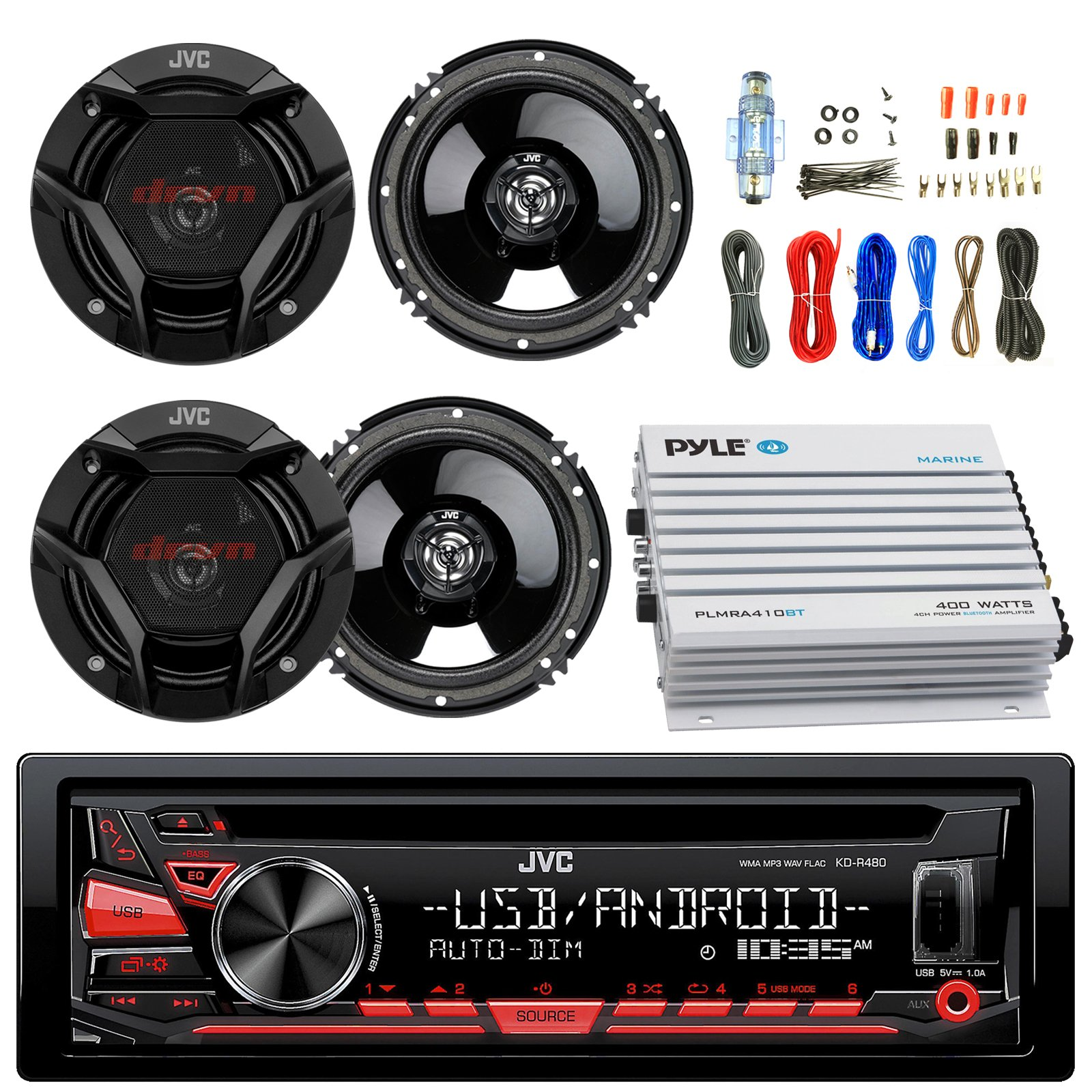 JVC KDR480 Car Radio USB AUX CD Player Receiver - Bundle Combo With 4x JVC CSDR620 6.5'' Inch 300-Watt 2-Way Black Audio Coaxial Speakers + + 4-Channel Amplifier + Amp Kit