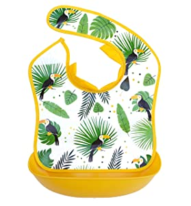 Baby bib with Detachable, Catch All Food Tray, Comfortable Soft Neck Seal, for Babies, Toddlers and Kids, Jungle Pattern