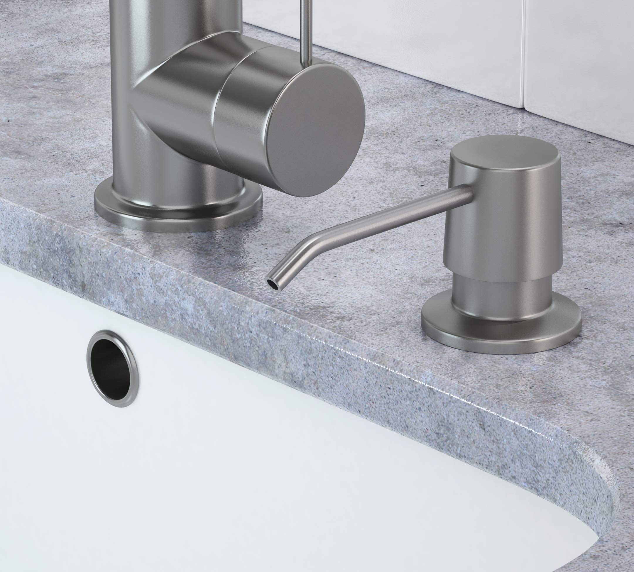 Besser Products Soap Dispenser for Kitchen Sink and Tube Kit - Made of Complete Brass and Stainless Steel Finish, 36'' Tube Connects Directly To Soap Bottle, No More Messy Refills by Besser Products (Image #3)