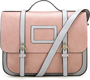 ECOSUSI Women Briefcase Vintage Crossbody Messenger Bag PU Leather Satchel Purse, Pink