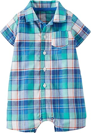 Carters Baby Boys Plaid Romper Green 6 Months