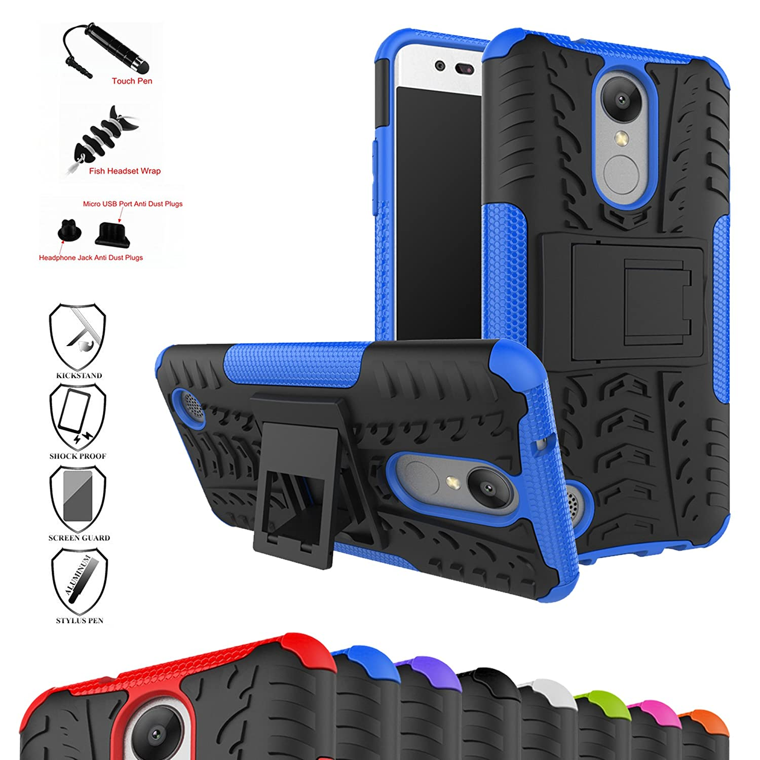,Blue with 4 in 1 Packaged OnePlus 5T Case,Mama Mouth Shockproof Heavy Duty Combo Hybrid Rugged Dual Layer Grip Cover with Kickstand for OnePlus 5T