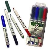 Premier Proscribe - Pack of 4 - Whiteboard Drywipe Marker Pens in Plastic Case - Black, Blue, Red, Green. 3mm Bullet Tip. Teacher's Pens.