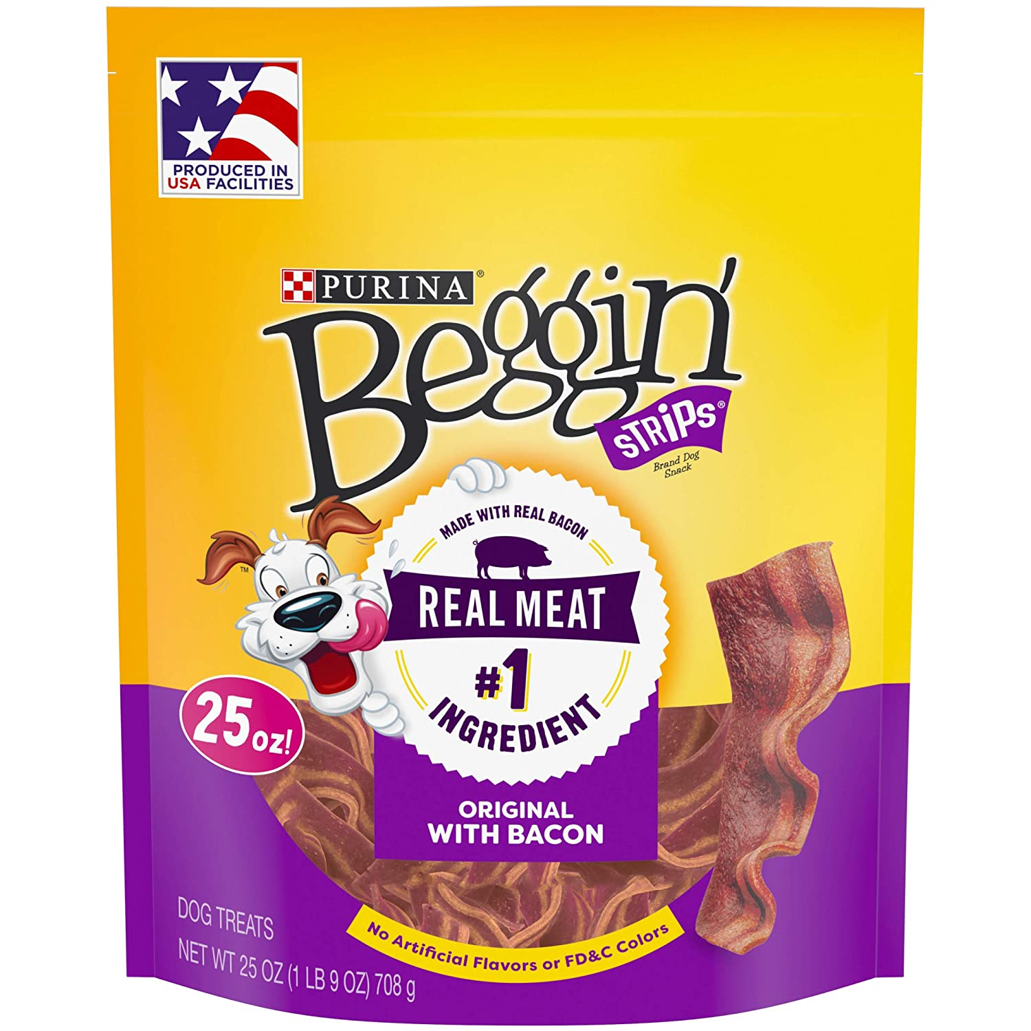 Begin 'Strips Dog Treats, Bacon... Beef, 25oz Pouch, Pack of 4 di Purina Begin'