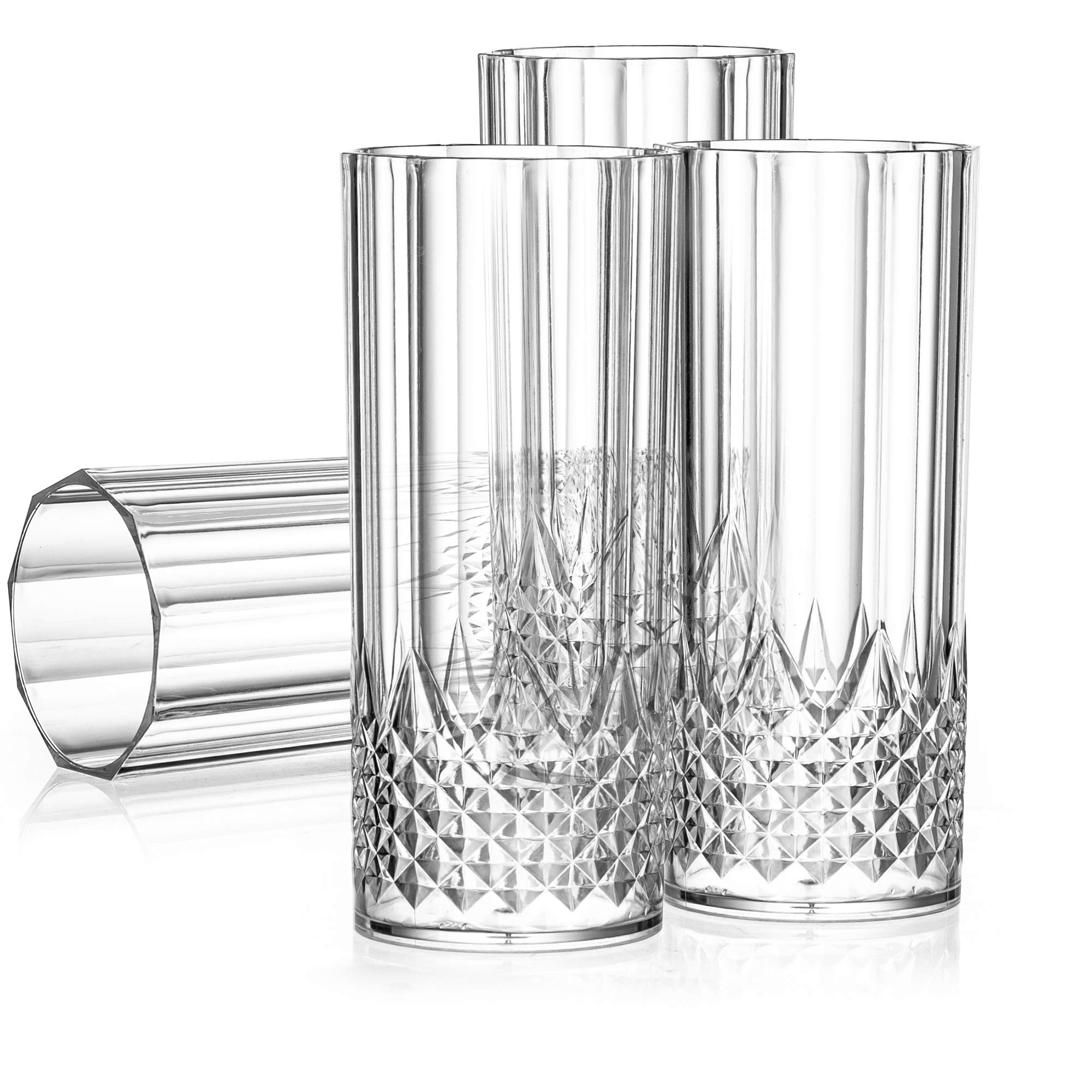 Laura Stein 4 Pack Disposable Heavy Weight Plastic Crystal Style Highball Glasses, Elegant Round Drinking Cups For Water, Beer, Mixed Drinks, Or Soda, Great For Wedding Reception Or The Everyday Party