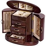Mele & Co. Heloise Wooden Jewelry Box, Ring, Necklace, and Earring Organizer