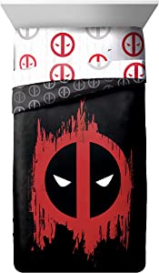 Marvel Deadpool Invasion Twin/Full Comforter - Super Soft Kids Reversible Bedding features Deadpool - Fade Resistant Polyester Microfiber Fill (Official Marvel Product)