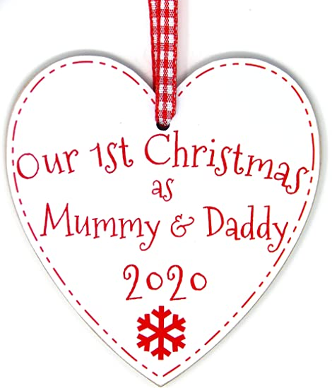 Our First Christmas Wood Christmas Bauble PERSONALISED Mummy Daddy Decor
