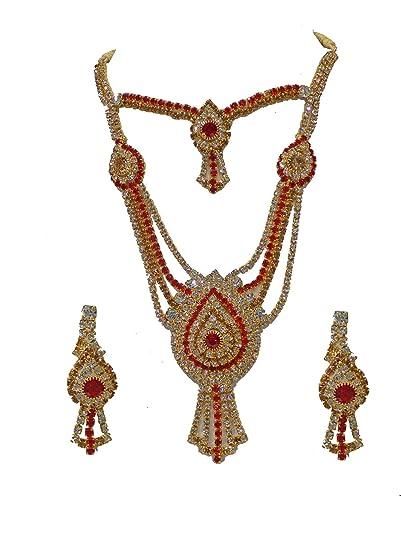 Buy Raaya Designer Jewellery Bridal Gold Plated Necklace Set With