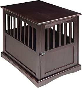 New! Wooden Furniture End Table and Pet Crate (Large, Espresso)