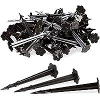 Relaxdays Haringen kunststof 11 cm, set van 100 bodemankers, tuinvlies bevestiging, elk 11,5 cm lang, zwart