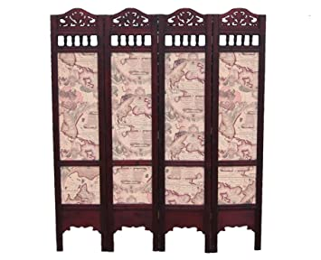 Wooden Carved ScreenRoom Divider with Antique Sailing Map Pattern