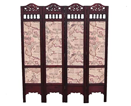 Wooden Carved Screen/Room Divider With Antique Sailing Map Pattern
