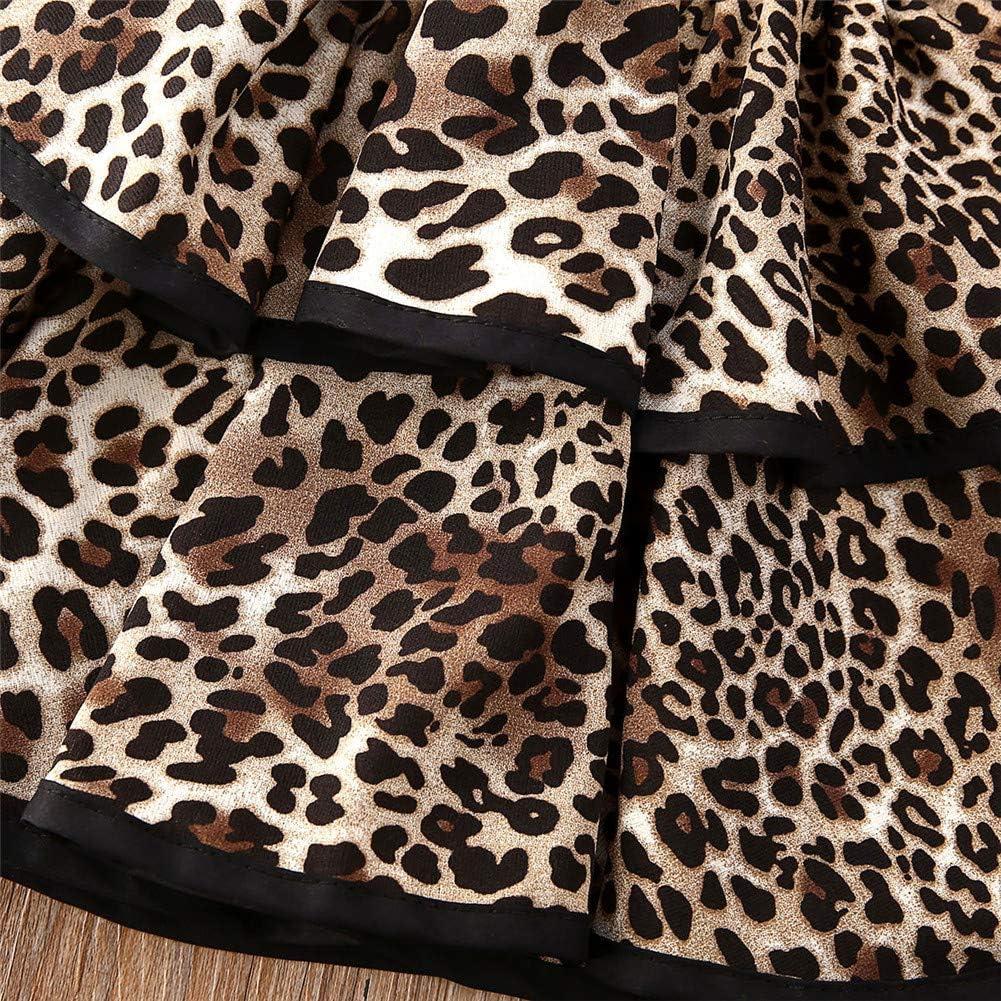 12 Month-4 Years GFTA Childrens Strappy Sleeveless Leopard Print Dress Backless Sling Dress,