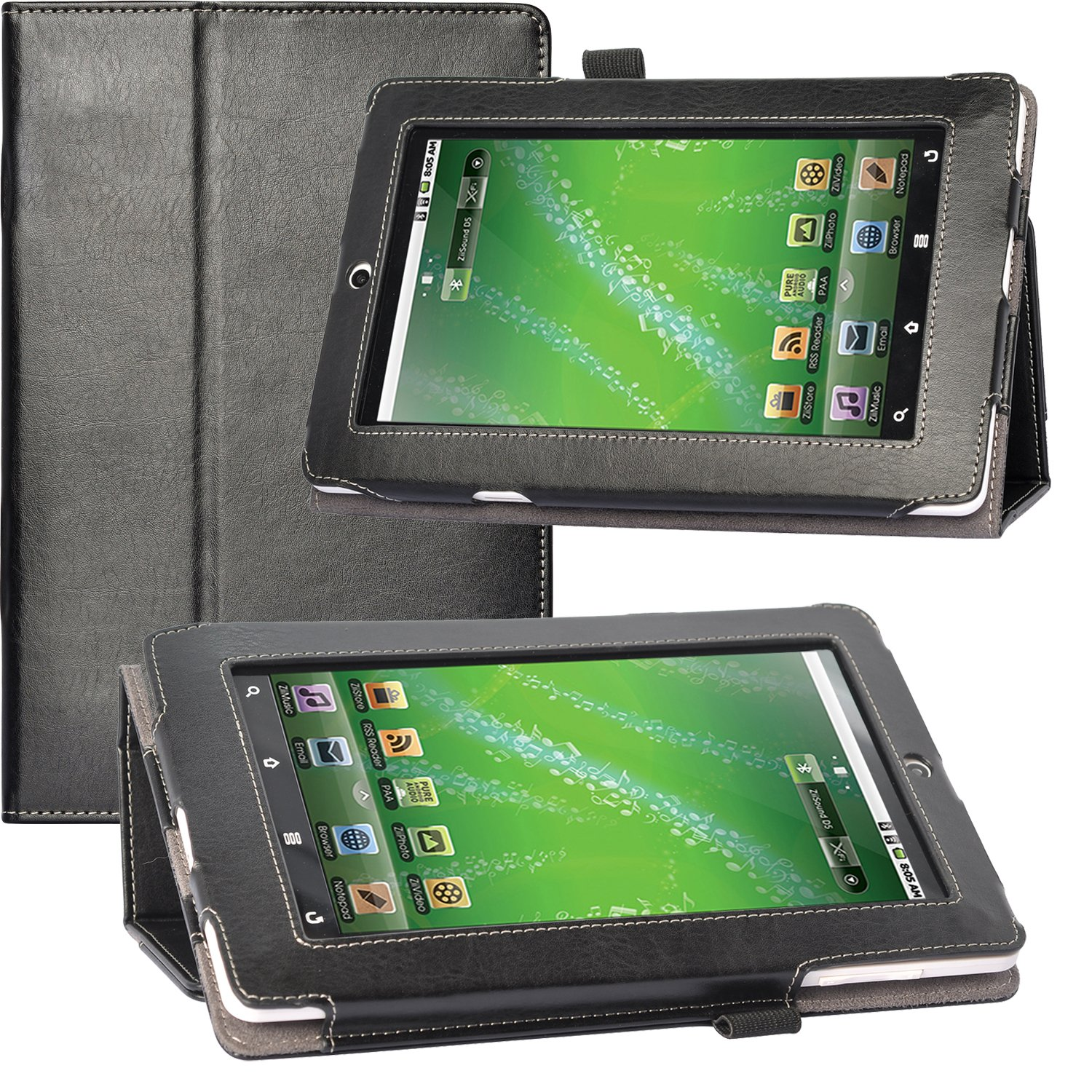 Poetic Slimbook Case for the Creative ZiiO 7-Inch Tablet Black(Included 2 Micro SD Card Slots) (Business Card Holder is Plus) (3 Year Manufacturer Warranty From Poetic) Krava Inc Slimbook-CreativeZiiO-Black