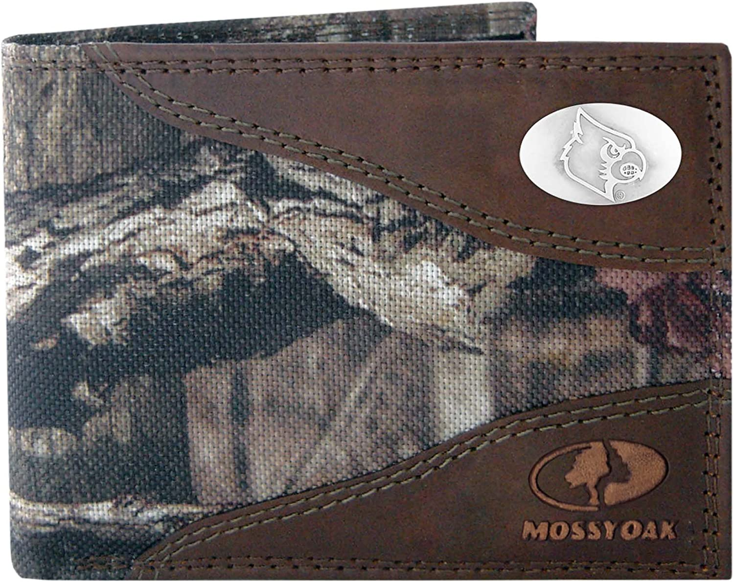 ZEP-PRO NCAA mens Zep-Pro Mossy Oak Nylon and Leather Passcase Concho Wallet