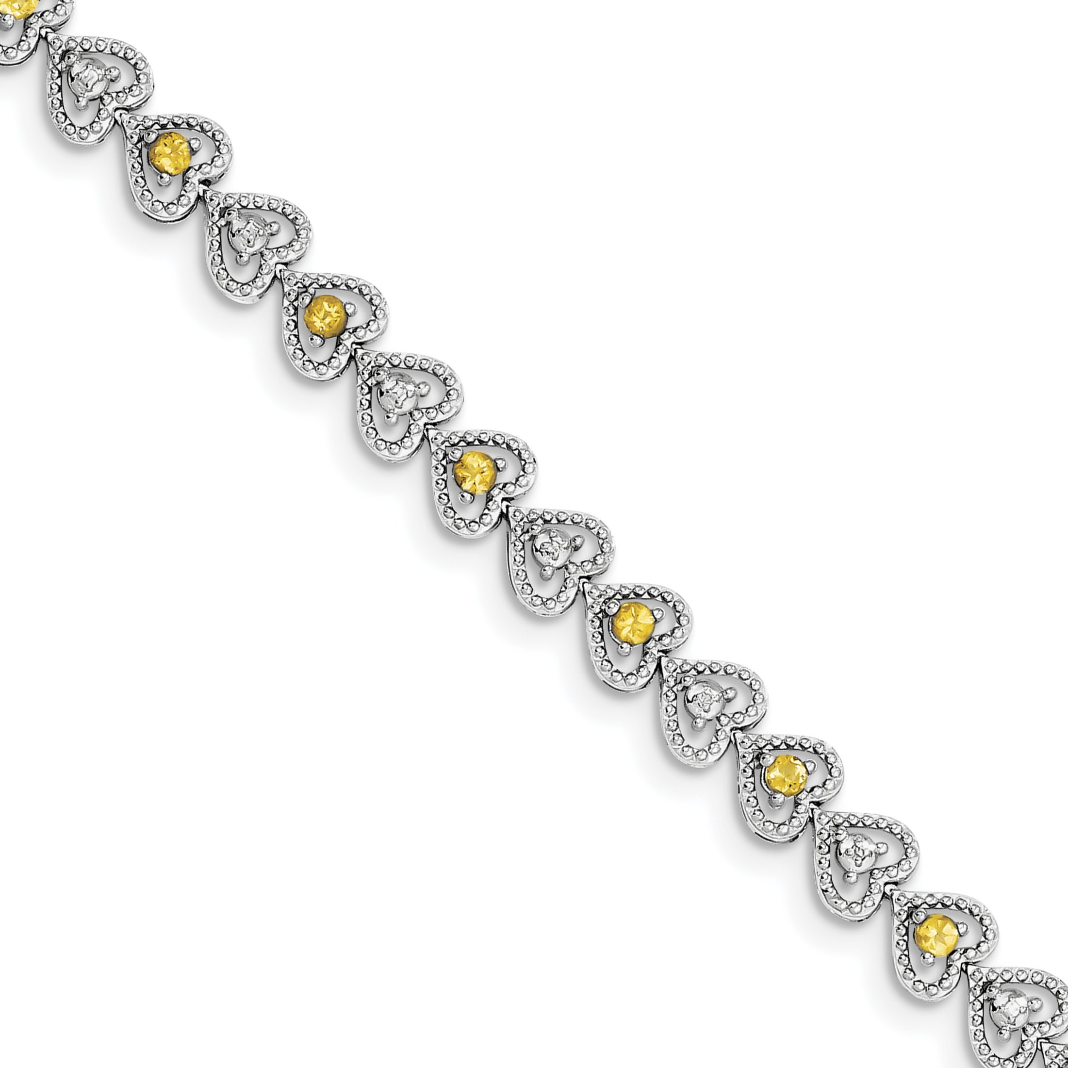 ICE CARATS 925 Sterling Silver Yellow Citrine Diamond Bracelet 7 Inch /love Gemstone Fine Jewelry Gift Set For Women Heart by ICE CARATS