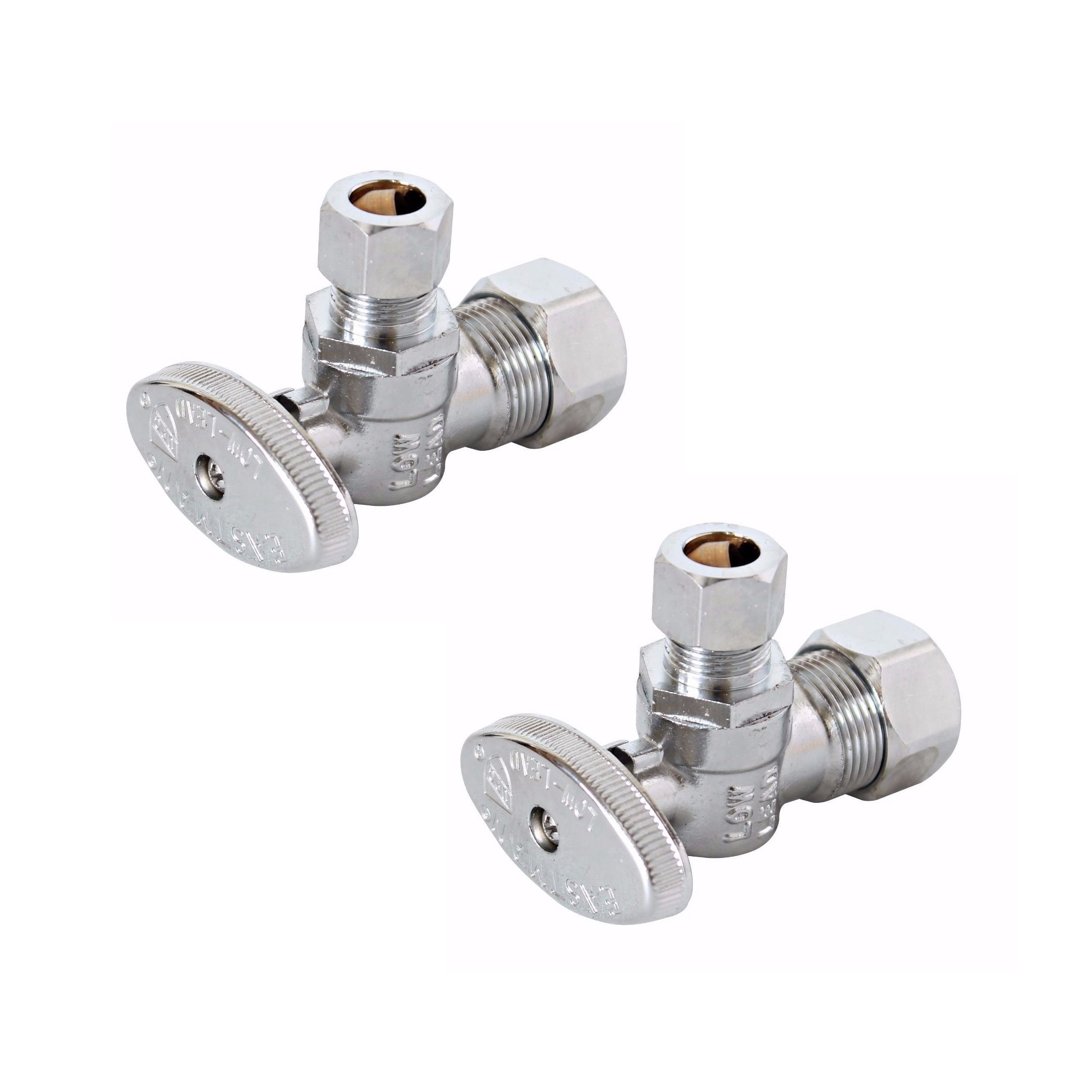 Eastman 10738LF Angle Stop Valve 1/4-Turn, 5/8'' Compression (1/2'' Nom) x 3/8'' OD Compression, Lead Free (2-Pack)