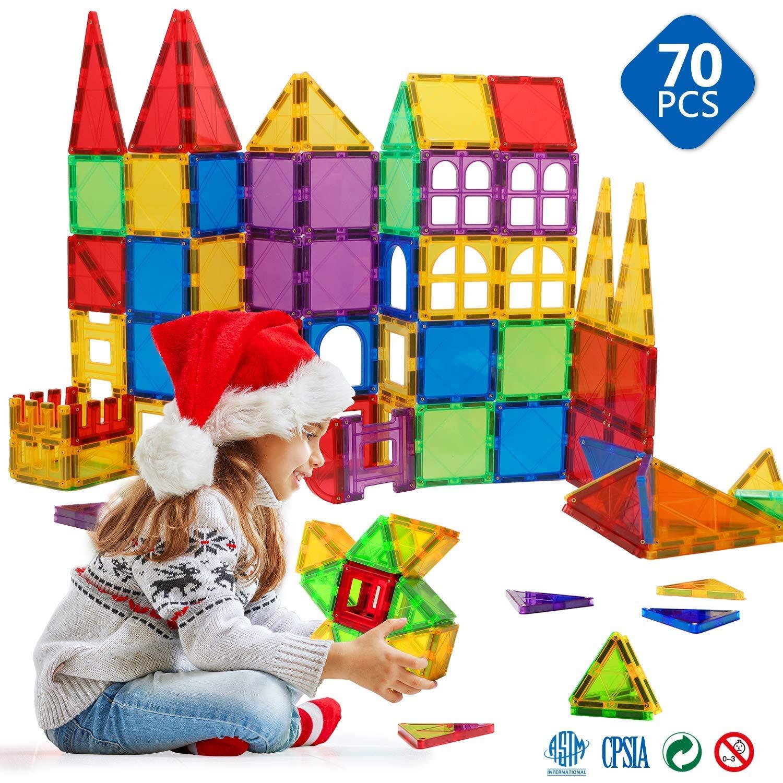 Welltop 磁気ビルディングタイル 70ピース 3Dビルディングブロックマグネット積み重ねおもちゃセット マグネットタイルキット 教育玩具 子供用 創造性 想像力 インスピレーション(3歳以上)   B07QNKLX1T