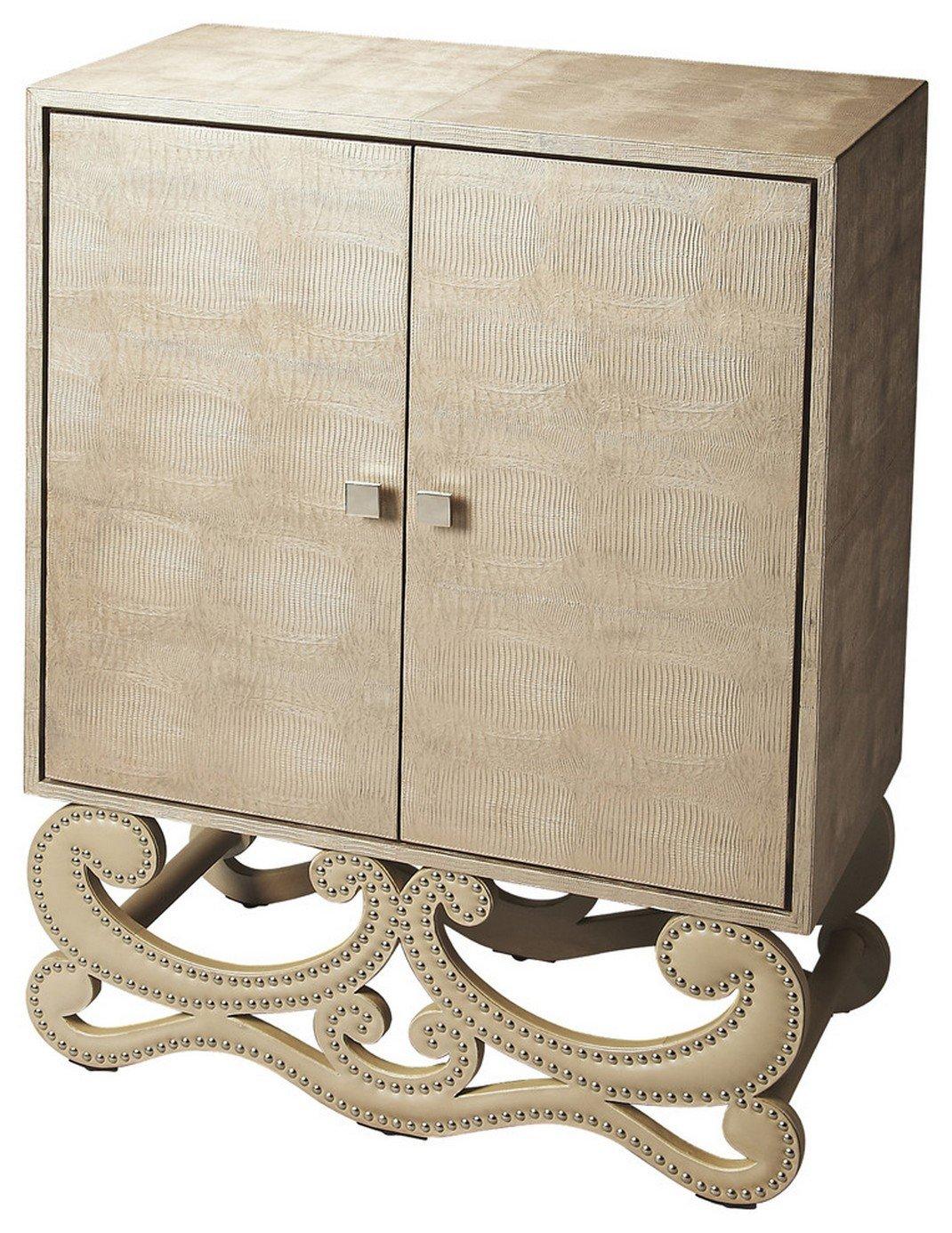 Butler Garfield Leather Accent Cabinet, 34-1/4'' x 17-1/2'' x 47-1/2'', Butler Loft Finish
