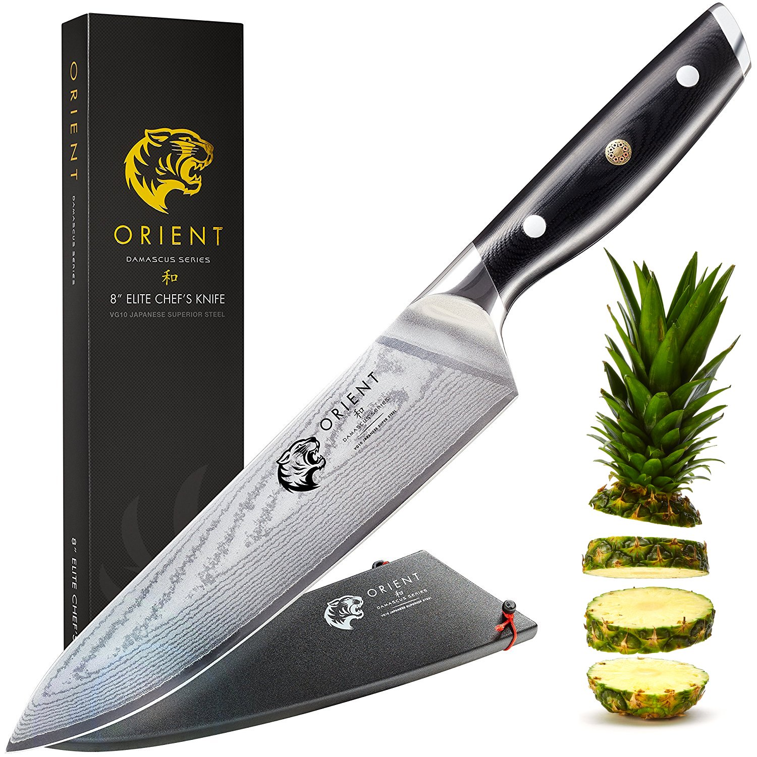 Orient 8 inch Damascus Japanese Chef Knife VG10 Ultra Sharp Stainless Steel Cooks Blade, Best Professional Cooking Chef's Knives Elite Series 67 Layer Gift Box & Sheath by ORIENT