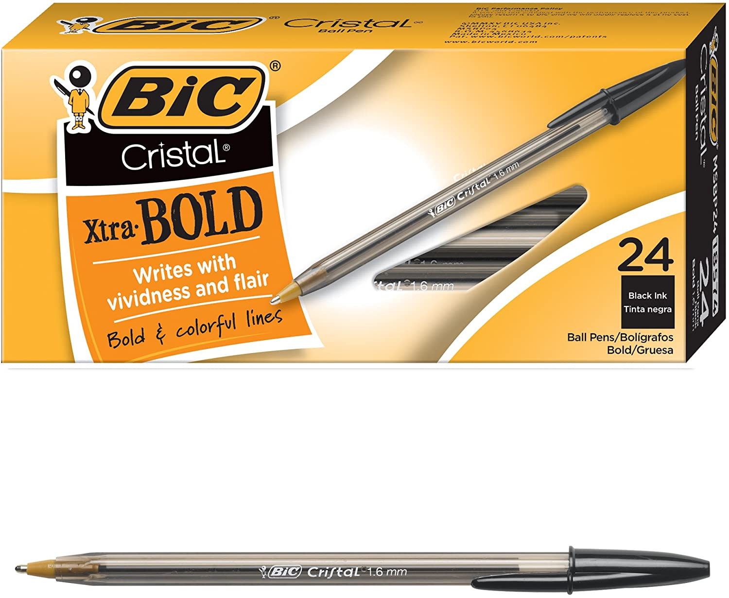 BIC Cristal Xtra Bold Ballpoint Pen Bold Point 1.6mm Black 24 Count