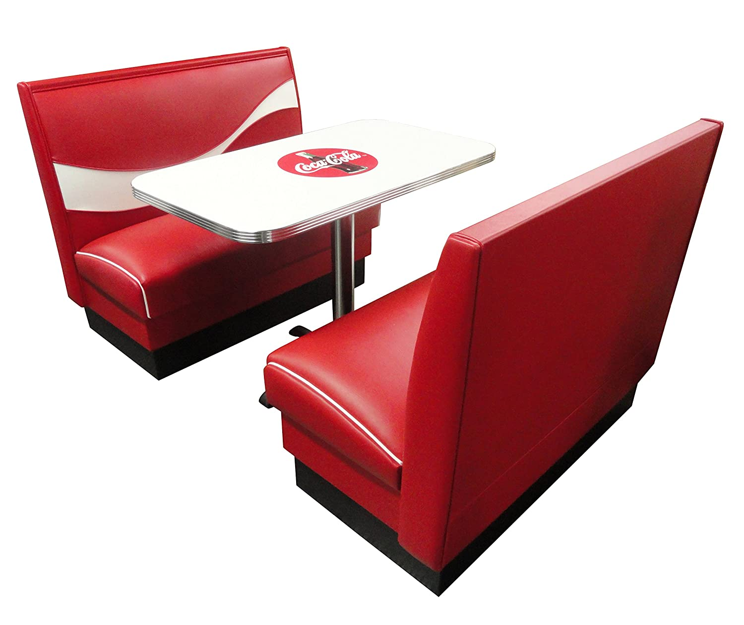 "Vitro Seating Products CB-II Coke Dinette Furniture Set with 2 Dynamic Booths and 24"" x 42"" Table, Red and White (Pack of 3)"