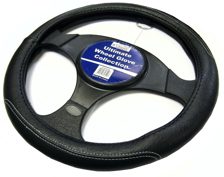 XtremeAuto® - Funda para volante, hecha de cuero, color negro con costuras en color gris –  xawg03 W XtremeAuto®