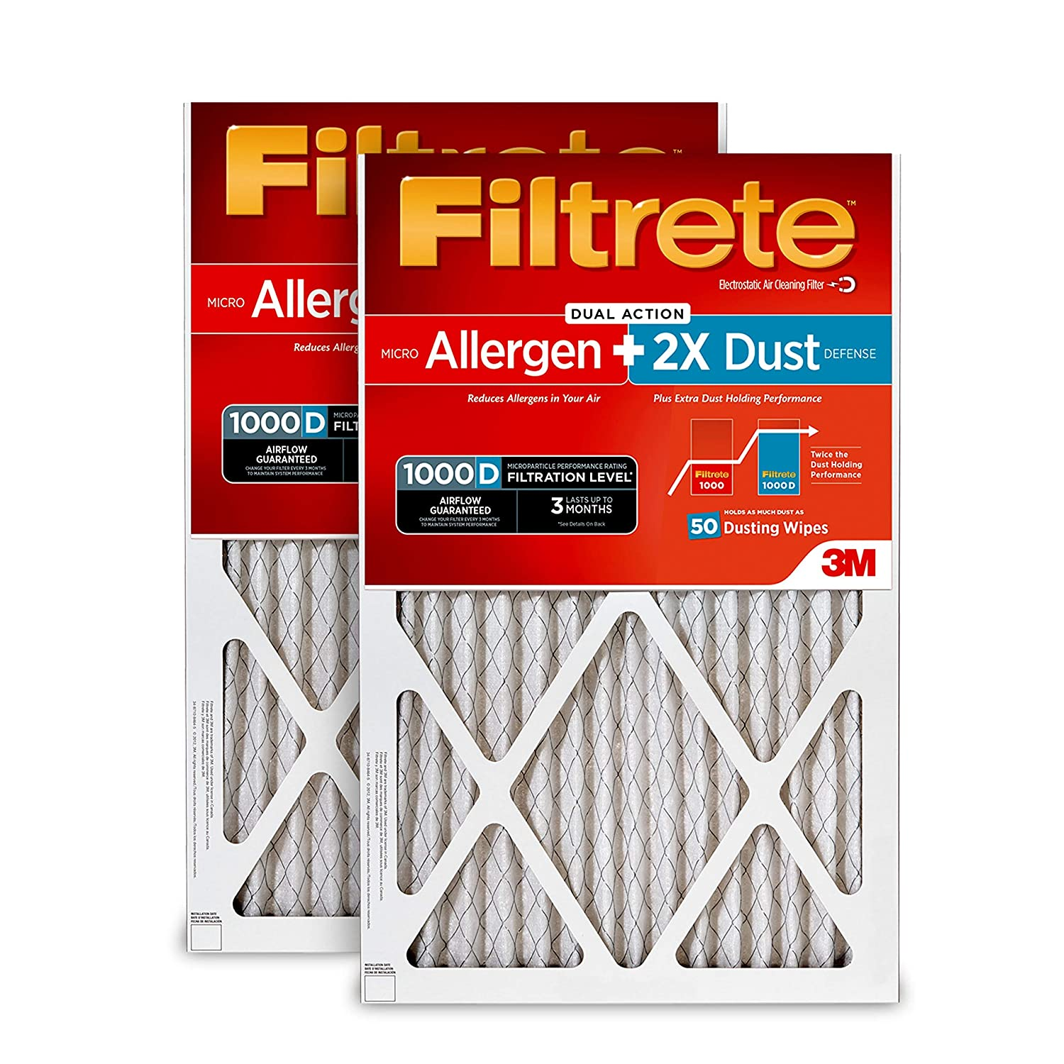 Filtrete 16x20x1, AC Furnace Air Filter, MPR 1000D, Micro Allergen PLUS DUST, 2-Pack