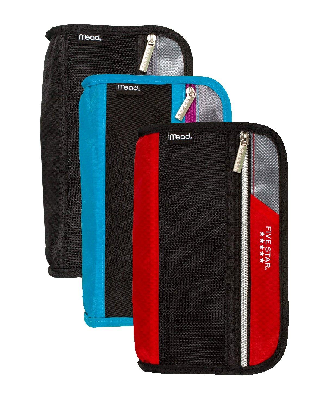 Set of 3 Mead / 5 Star Xpanz® Zipper Pencil - Pen - Marker - Highlighter Pouch, Assorted Colors!