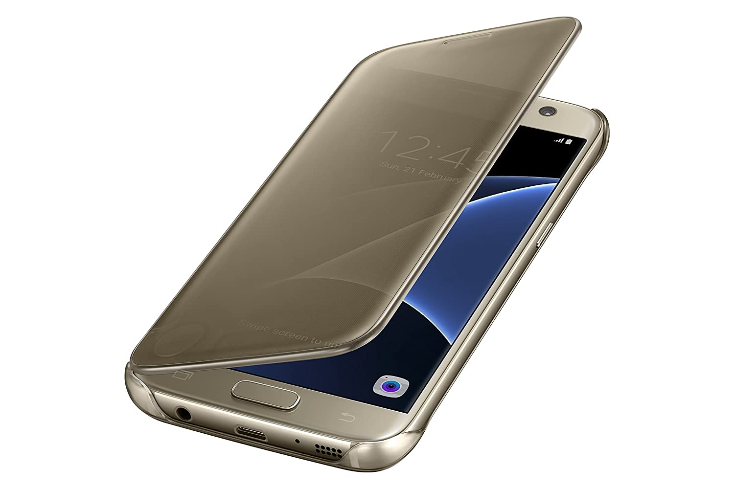 4ce56448039 Amazon.com: Samsung Galaxy S7 Case S-View Clear Flip Cover - Gold: Cell  Phones & Accessories