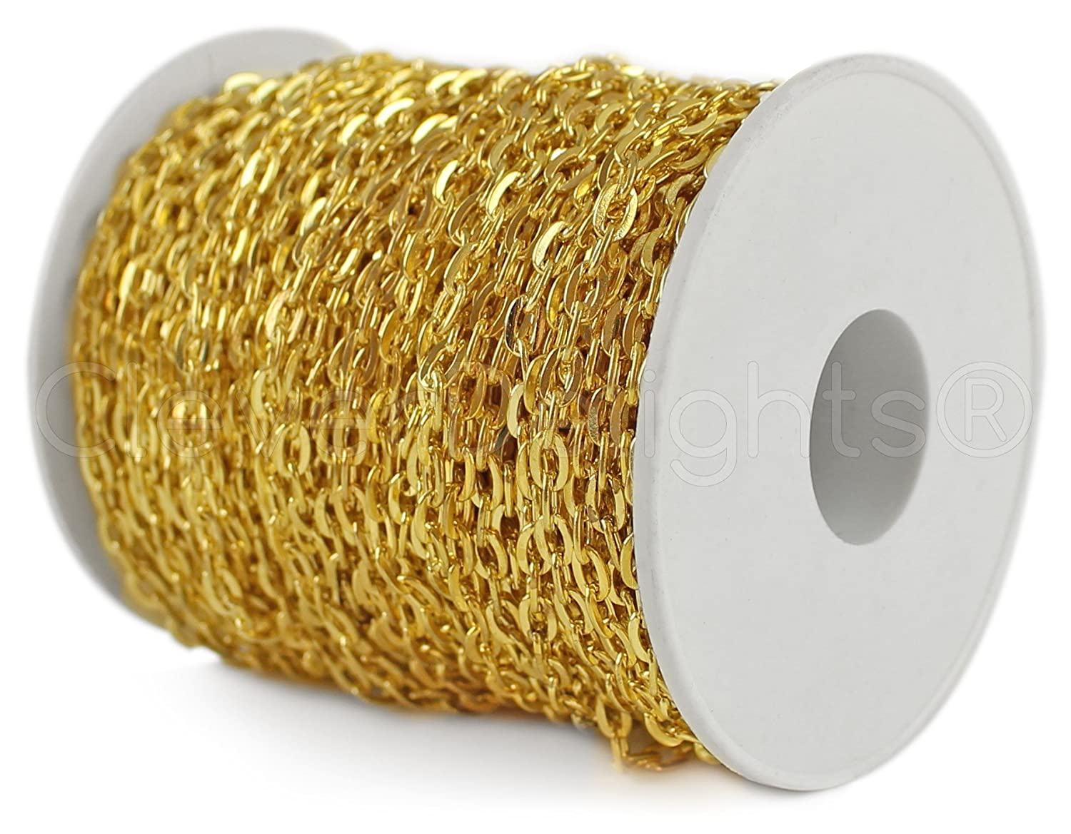 2x3mm Link Bulk Rolo Gold Color Cable Chain Spool 100 Feet