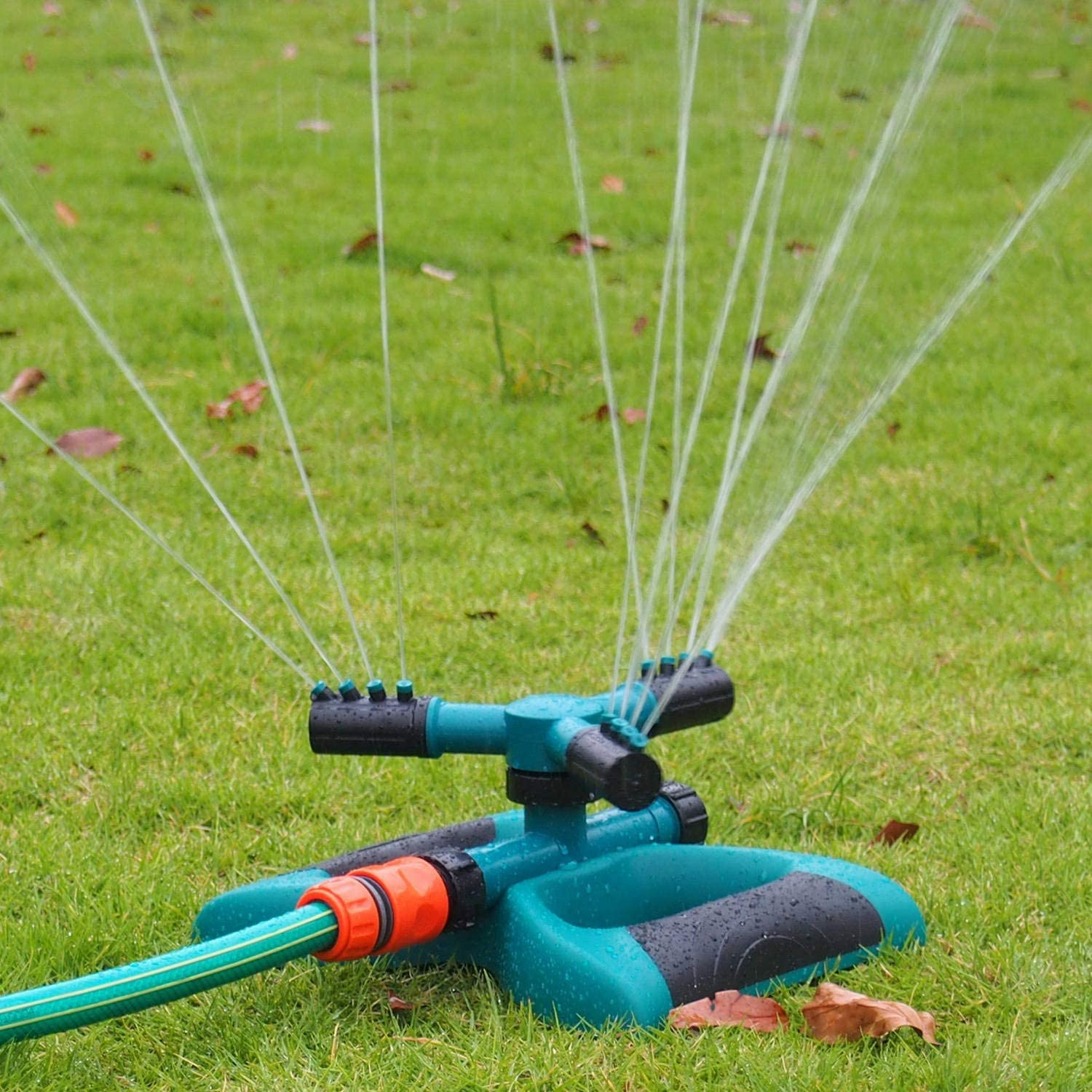 Automatic Lawn Water Sprinkler 360 Degree 3 Arm Rotating Sprinkler System for Large Lawn Area with Tuneway Garden Sprinkler