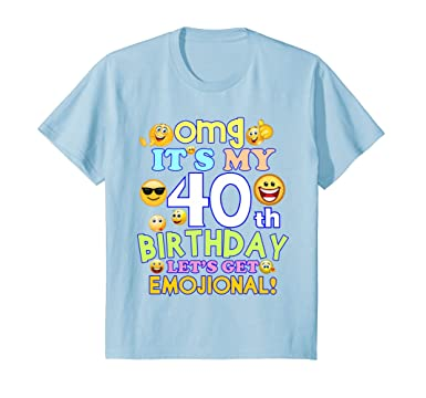 69a26e82 Image Unavailable. Image not available for. Color: Kids Its my 40th  Birthday Funny Emoji 40th Birthday T Shirt ...