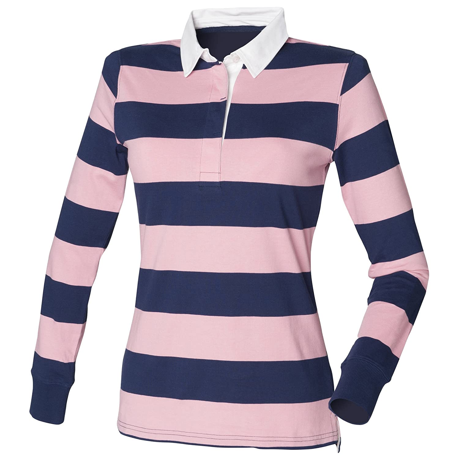 Front Row Womensladies Striped Rugby Polo Shirt At Amazon Womens