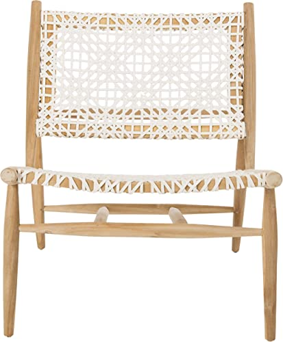 Safavieh Home Bandelier Light Oak and White Leather Weave Accent Chair