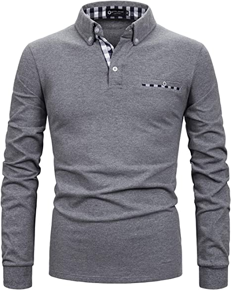 Beloved Mens Winter Long Sleeve Stripe Collar Pure Color Polo T Shirt Top