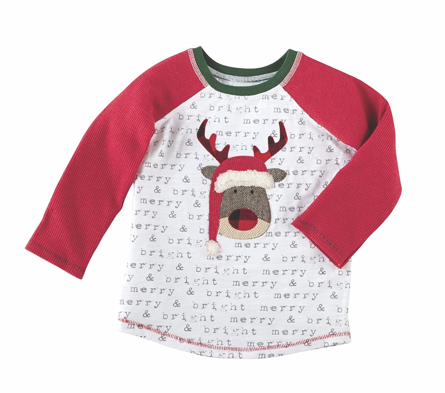 Mud Pie Kids Alpine Village Boys Christmas Tee-Reindeer Merry and Bright 15100021-Reindeer