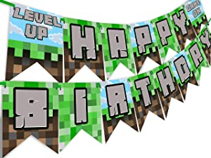 POP parties Pixel Party Happy Birthday Banner - Made in The USA - Game On